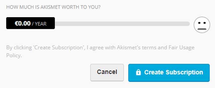 Configurazione gratuita plugin akismet