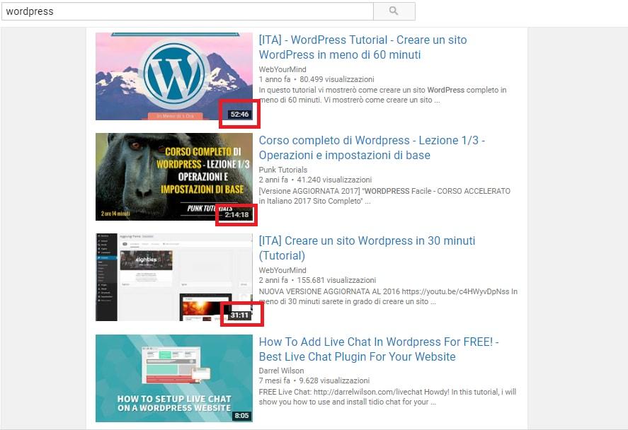 Risultati di Ricerca Youtube